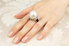 Ella Gafter South Sea Pearl and Diamond Ring with Onyx - 1194435