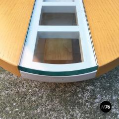 Elliptical solid wood coffee table 1980s - 2035011