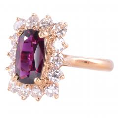 Elongated Oval Ruby Diamond 14KY Ring - 2129819