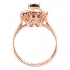 Elongated Oval Ruby Diamond 14KY Ring - 2129820
