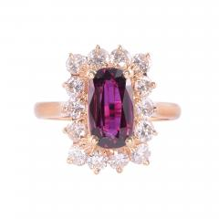 Elongated Oval Ruby Diamond 14KY Ring - 2132014