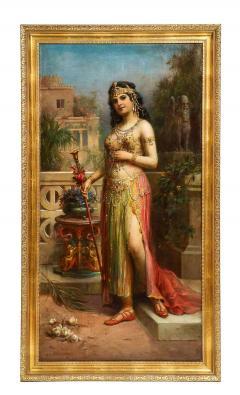 Emanuel Oberhauser Austrian 1854 1919 Full Length Orientalist Queen Oil - 2128776