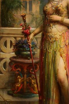Emanuel Oberhauser Austrian 1854 1919 Full Length Orientalist Queen Oil - 2128777