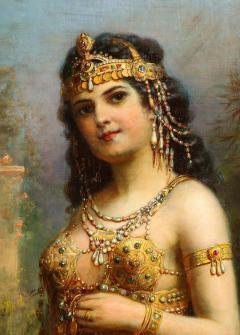 Emanuel Oberhauser Austrian 1854 1919 Full Length Orientalist Queen Oil - 2128781