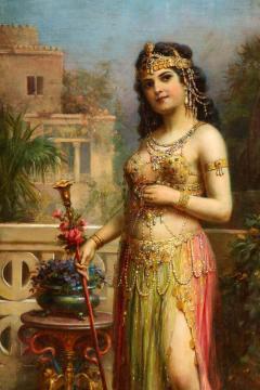 Emanuel Oberhauser Austrian 1854 1919 Full Length Orientalist Queen Oil - 2128782