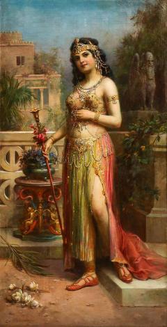 Emanuel Oberhauser Austrian 1854 1919 Full Length Orientalist Queen Oil - 2132009