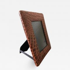Embossed Alligator or Crocodile Leather Photo or Picture Frame Pair Available - 1523090