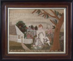 Embroidered Picture of Girl Feeding Chickens - 1766399