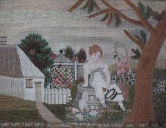 Embroidered Picture of Girl Feeding Chickens - 1766406