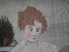 Embroidered Picture of Girl Feeding Chickens - 1766407