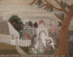 Embroidered Picture of Girl Feeding Chickens - 1766521