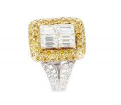 Emerald Cut Diamond Engagement Ring with Pave Yellow Diamonds and White Diamonds - 1795319