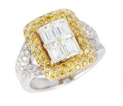 Emerald Cut Diamond Engagement Ring with Pave Yellow Diamonds and White Diamonds - 1795320