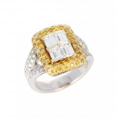 Emerald Cut Diamond Engagement Ring with Pave Yellow Diamonds and White Diamonds - 1797645