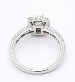 Emerald Cut Diamond Platinum Engagement Ring - 1286061