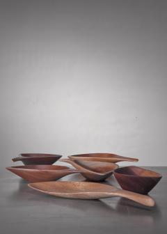 Emil Milan Emil Milan set of six carved bowls USA 1960s - 1257900