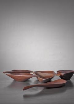 Emil Milan Emil Milan set of six carved bowls USA 1960s - 1257901