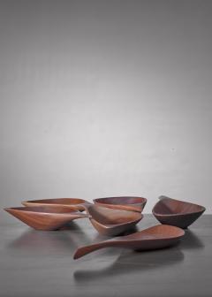 Emil Milan Emil Milan set of six carved bowls USA 1960s - 1257902