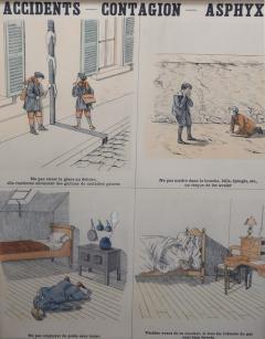 Emile Deyrolle 8 French Posters for Accident Prevention by Les Fils d Emile Deyrolle Paris - 1675581