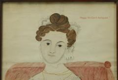 Emily Eastman Antique American Folk Art Watercolor Portrait of Lady in White by Emily Eastman - 1392547