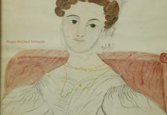 Emily Eastman Antique American Folk Art Watercolor Portrait of Lady in White by Emily Eastman - 1392548