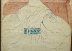 Emily Eastman Antique American Folk Art Watercolor Portrait of Lady in White by Emily Eastman - 1392551