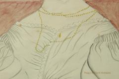 Emily Eastman Antique American Folk Art Watercolor Portrait of Lady in White by Emily Eastman - 1392552