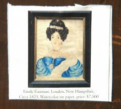Emily Eastman Antique American Folk Art Watercolor Portrait of Lady in White by Emily Eastman - 1392555