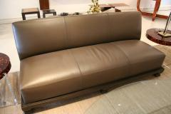 Emily Summers Studio Line Geoffrey Beene Sofa in Chocolate Top Stitch Leather - 662794