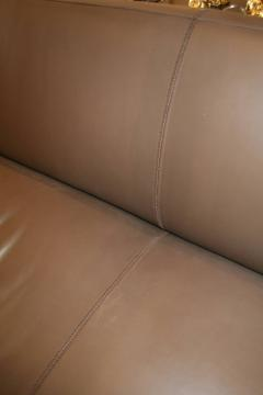 Emily Summers Studio Line Geoffrey Beene Sofa in Chocolate Top Stitch Leather - 662798