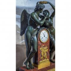 Empire Ormolu Mounted Patinated Bronze and Rouge Royale Marble Mantel Clock - 2034431