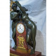 Empire Ormolu Mounted Patinated Bronze and Rouge Royale Marble Mantel Clock - 2034432