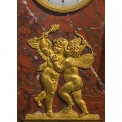 Empire Ormolu Mounted Patinated Bronze and Rouge Royale Marble Mantel Clock - 2034438
