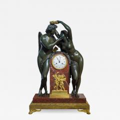 Empire Ormolu Mounted Patinated Bronze and Rouge Royale Marble Mantel Clock - 2036219