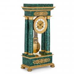 Empire Period Neoclassical Malachite and Gilt Bronze Mantel Clock - 1954742