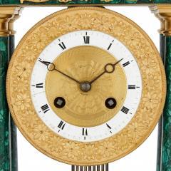 Empire Period Neoclassical Malachite and Gilt Bronze Mantel Clock - 1954744