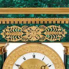 Empire Period Neoclassical Malachite and Gilt Bronze Mantel Clock - 1954745