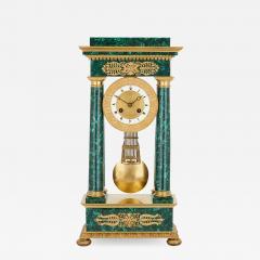 Empire Period Neoclassical Malachite and Gilt Bronze Mantel Clock - 1957143