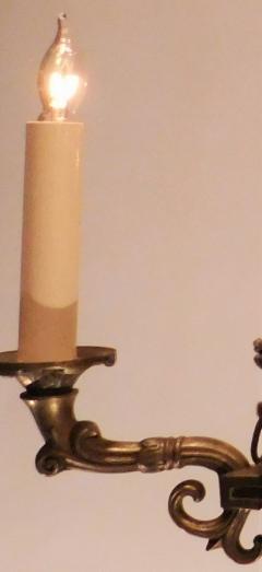 Empire Style Brass Six Light Chandelier - 1198169