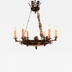 Empire Style Brass Six Light Chandelier - 1198526
