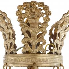 Empire style patinated and gilt bronze six light bowl chandelier - 1287269
