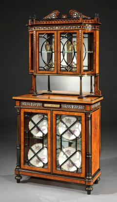 English 19th Century Amboyna and Ebony Inlaid Display Cabinet - 620140