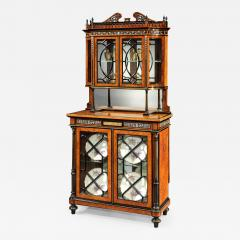 English 19th Century Amboyna and Ebony Inlaid Display Cabinet - 621581