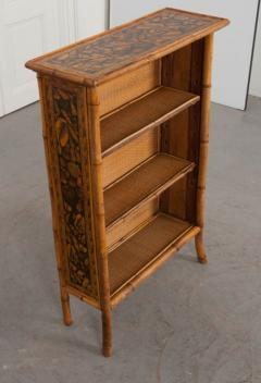 English 19th Century Bamboo D coupage Shell Bookcase - 1395048