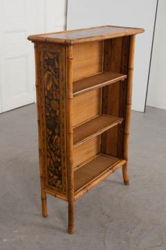 English 19th Century Bamboo D coupage Shell Bookcase - 1395049