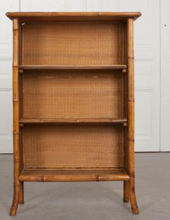 English 19th Century Bamboo D coupage Shell Bookcase - 1395050