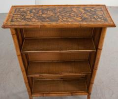 English 19th Century Bamboo D coupage Shell Bookcase - 1395059