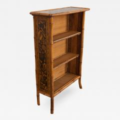 English 19th Century Bamboo D coupage Shell Bookcase - 1395410