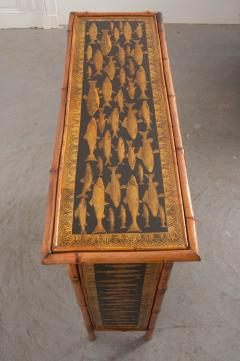 English 19th Century Bamboo and D coupage Fish Bookcase - 1099532