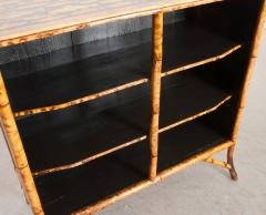 English 19th Century D coupaged Bamboo Bookcase - 1099550